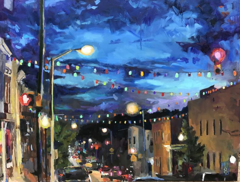 Oil on Canvas Painting of Colored Lanterns Over Eastern Ave