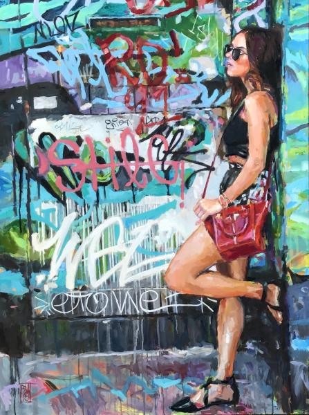 oil painting of a young woman standing in front of a grafittied wall