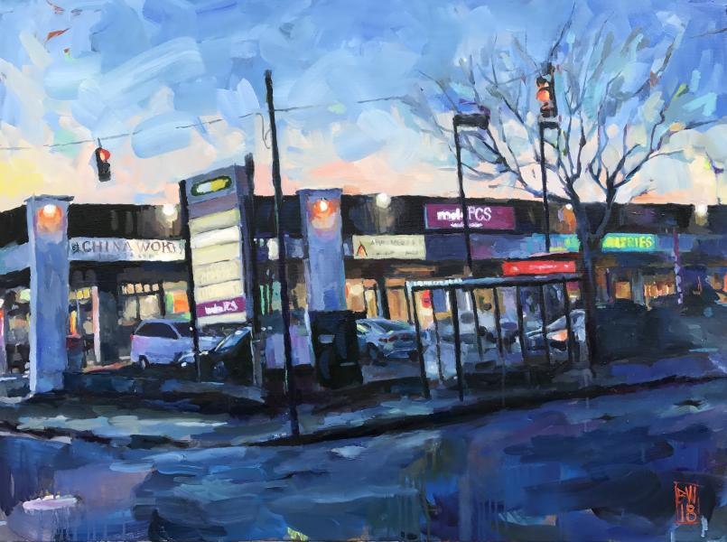 Oil painting of a strip Mall
