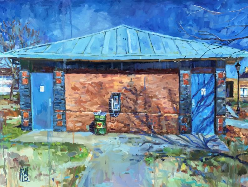 oil painting of a free-standing structure that houses restrooms in Canton Waterfront Park
