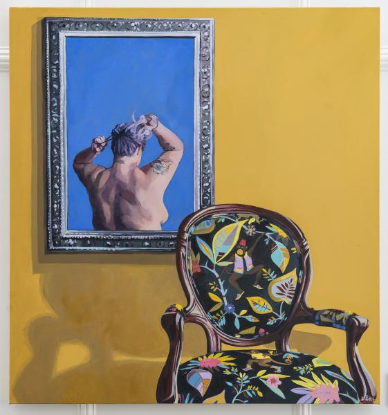 painting, portrait, self portrait, chair, mirror, figurative painting, color, pattern