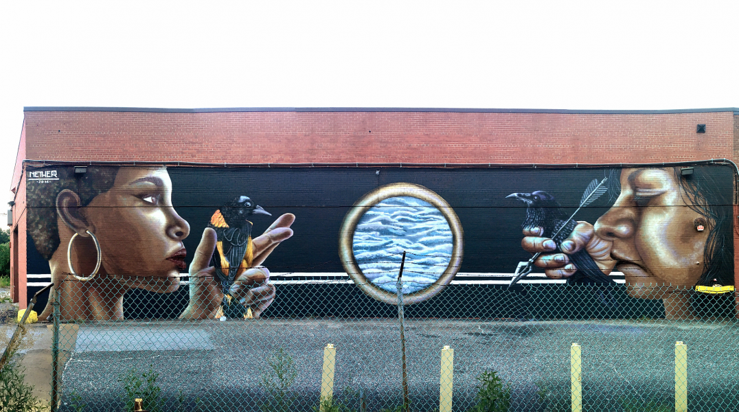 """The Guardians"" (Clipper Mill Industrial Park) nether street art baltimore bmore"