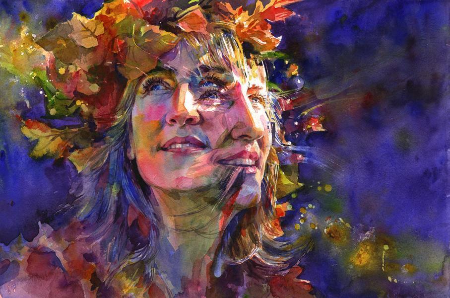 """Aurelia,"" 15"" x 22"", watercolor on paper, 2018"