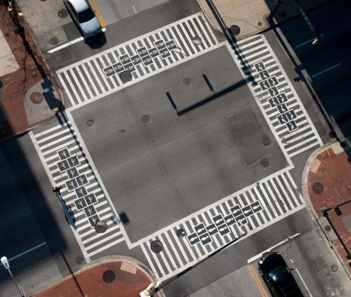 Hopscotch Crosswalks seen from above