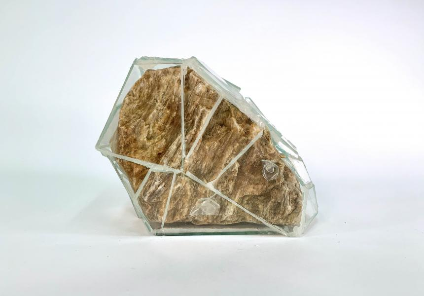 glass, stone from creek in North Carolina, silicone, 2018