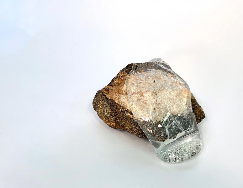 glass, stone from creek in North Carolina, 2018