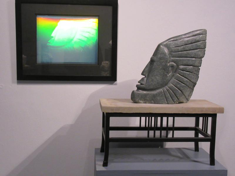 Soapstone sculpture and hologram by Alan Rhody