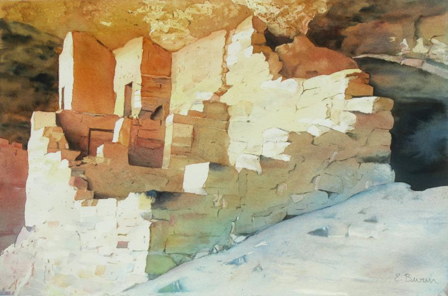 Ancient Pueblo (Balcony House), watercolor painting of ruined cliff dwelling, Mesa Verde, Colorado, by Elizabeth Burin