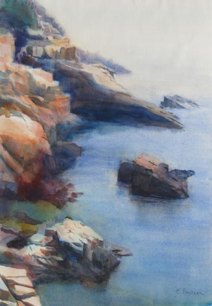 Rocky Coast in Maine, watercolor landscape painting by Elizabeth Burin