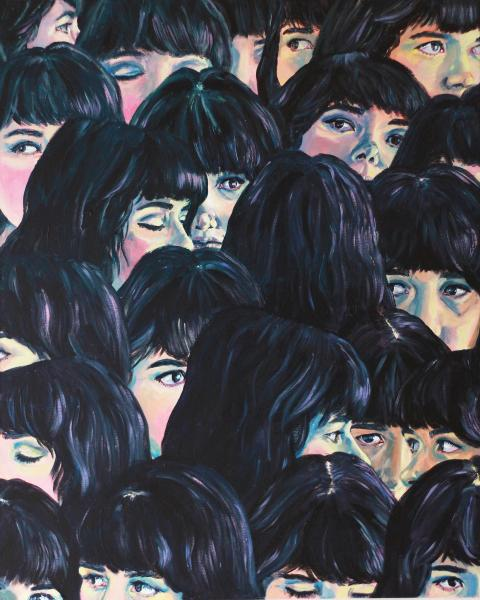 Multiple self-portrait painting