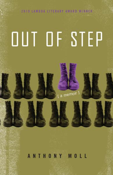 The cover of the book: Out of Step, A Memoir.  Two rows of combat boots, all black except on pair that is purple. Olive drag backgroud.