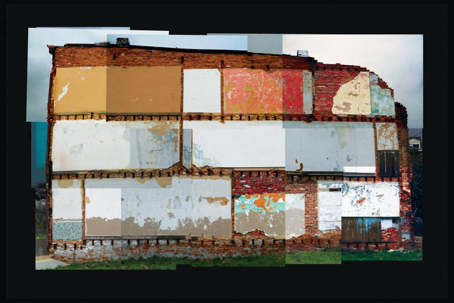 abandoned building, baltimore, built environment, cityscape, photomontage, row house, urban landscape, wall