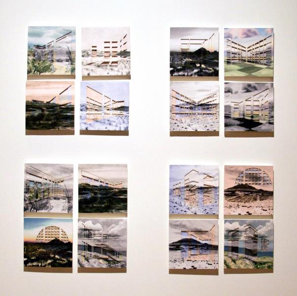 Miniature collages featuring landscape paintings and drawings which have cut-out architecture window shapes, and are then overlaid to create depth and abstraction of the depicted landscape.