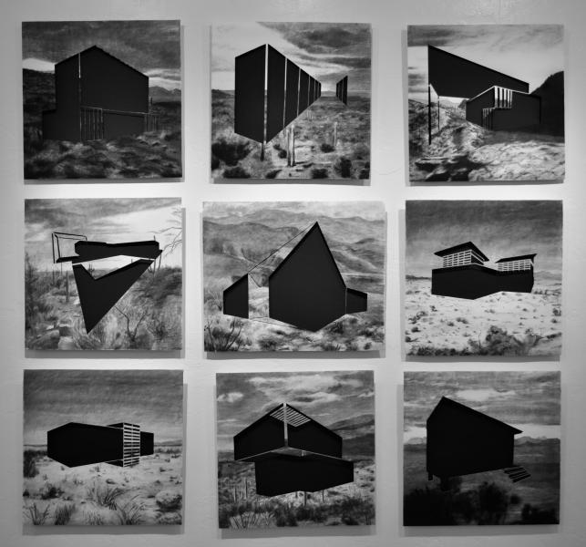 A set of 9 black and white charcoal drawings, displayed in a grid. Each drawing depicts a landscape with a large, black architectural form cut out of the center.