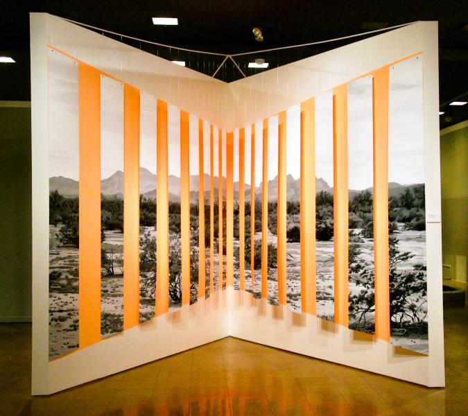 A large installation using long, thin paintings in black and white that hang in front of an angled wall, with a section of fluorescent orange paint on it. The b&w paintings contain pieces of a landscape - viewed from afar the image is nearly whole.