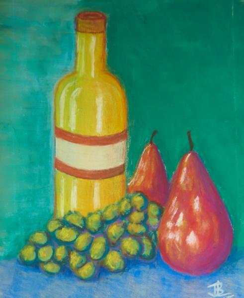 Apres Midi Mediterranee, bottle, limoncello, grapes, pears,  still life, still-life, pastel, painting, realistic, JBL-Art, Barrie Leigh
