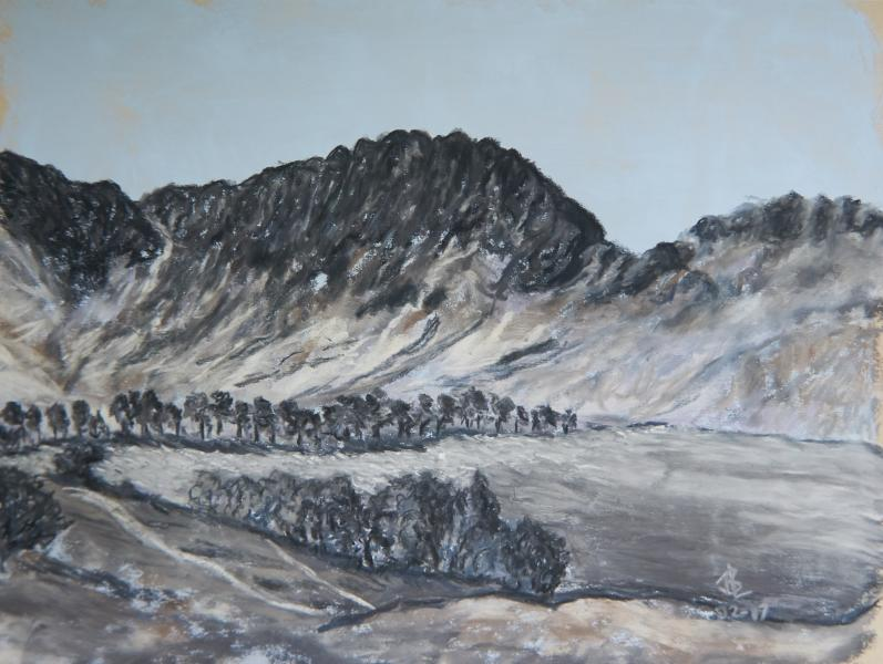 Seatallan, landscape, crags, mountains, Lake District, England, Cumbria, ridges, smoky mountains, ridges, screes, granite, value painting, pastel, painting, realistic, JBL-Art, Barrie Leigh