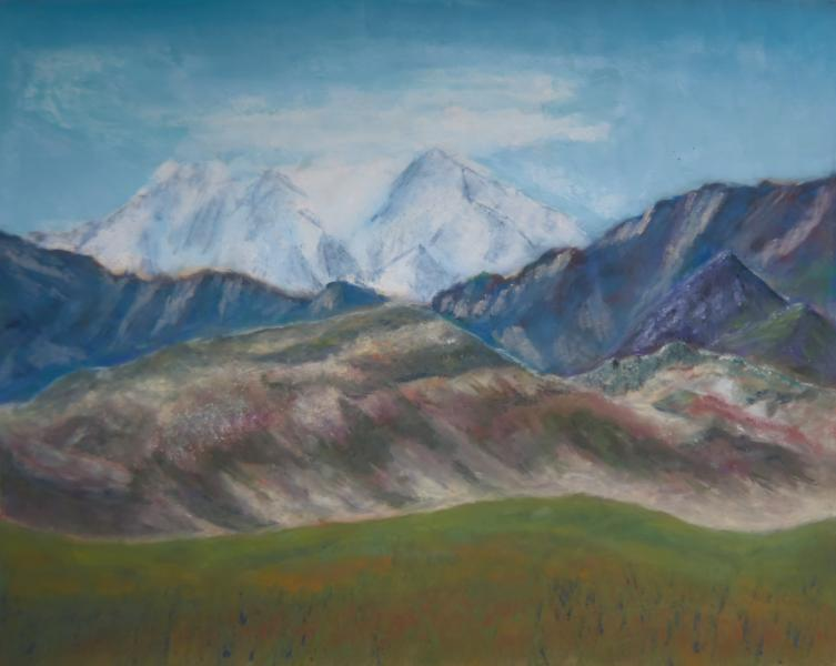 Alaska, Denali National Park, mountains, pastel, painting, realistic, JBL-Art, Barrie Leigh