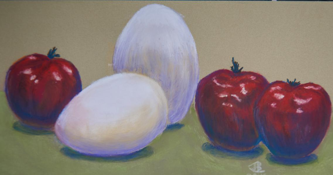 The Kitchen Shelf, eggs, apples, still life, still-life, pastel, painting, realistic, JBL-Art, Barrie Leigh