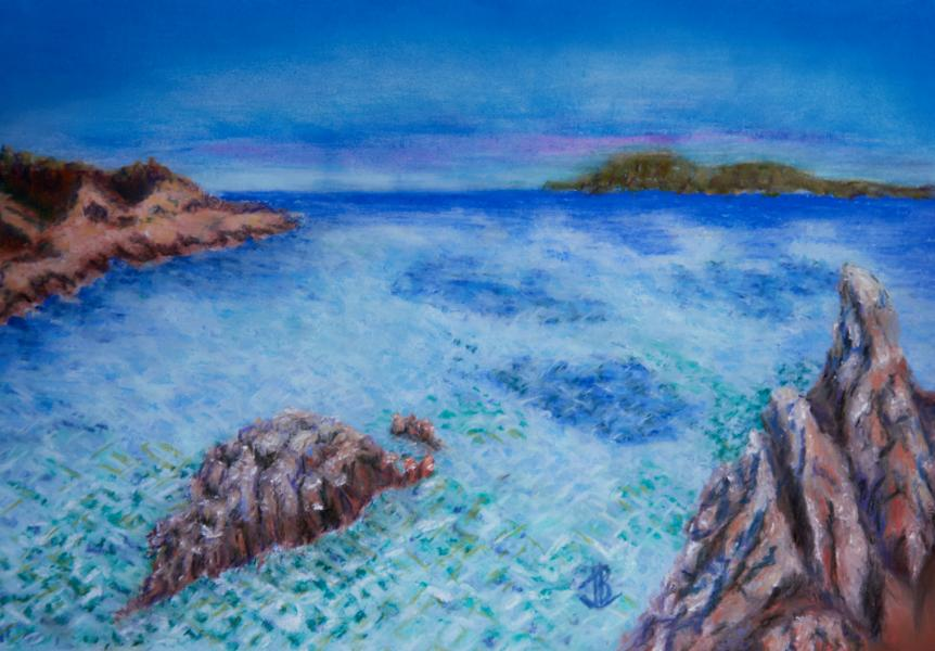 Rippling water, Inlet, Mediterranean, Sardinia, Clear, Rocky protection,Craggy coastline, PastelSea, Bay, Rocks, pastel, painting, realistic, JBL-Art, Barrie Leigh