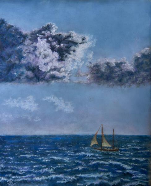 Sea, Storm, Waves Scudding, Sailboat, Angry sky, Sullen storm, Thunder storm, pastel, painting, realistic, JBL-Art, Barrie Leigh