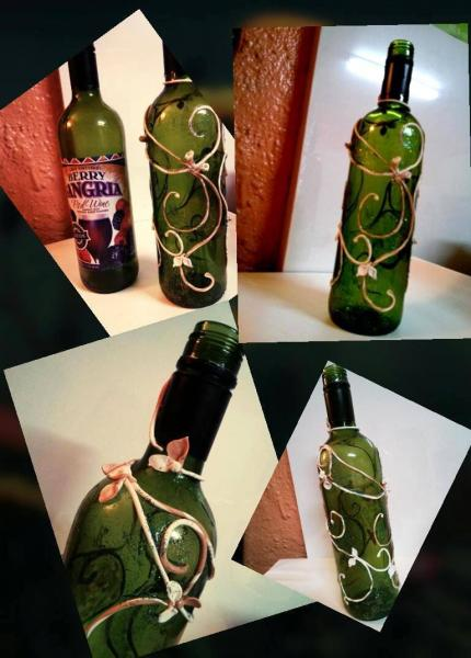 Clay on wine bottle