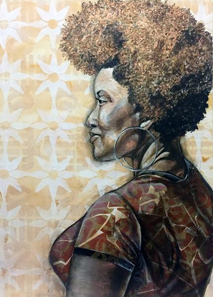 mixed media, fine art, collage, portraits, painting, black female artist