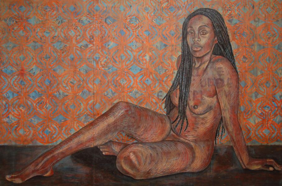 mixed media, nude, fine art, collage, portraits, painting, black female artist