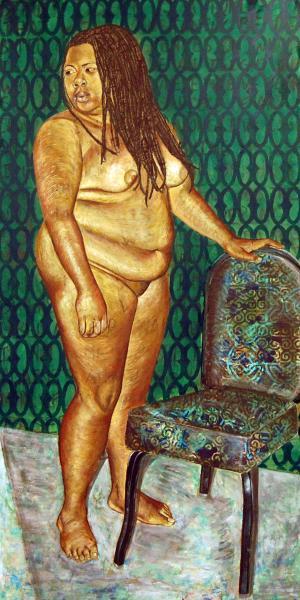 painting, mixed media, portrait, black female artist, collage