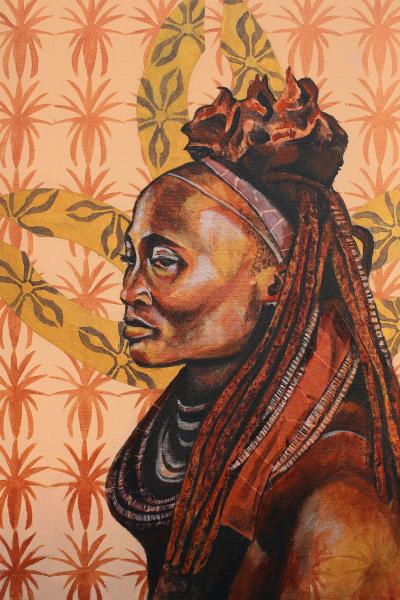 mixed media, fine art, collage, portraits, painting, black female artist, namibia, himba