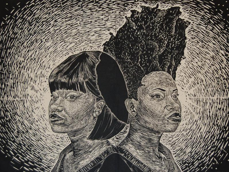 woodcut, fine art, mono print, printmaking, portraits, black female artist