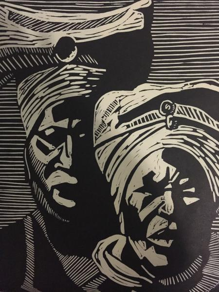 woodcut, linoleum cut, fine art, portrait, printmaking, black female artist