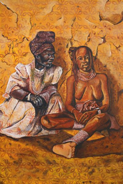 mixed media, fine art, collage, portraits, painting, black female artist, namibia, himba, herero