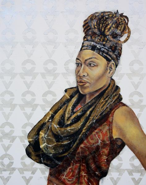painting, mixed media, portrait, black female artist