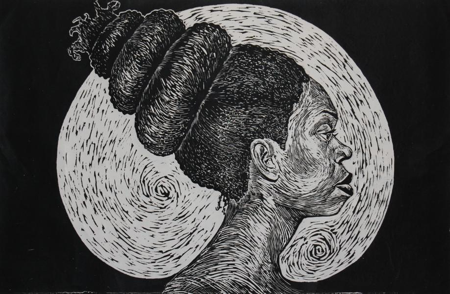 woodcut, fine art, portrait, printmaking, black female artist