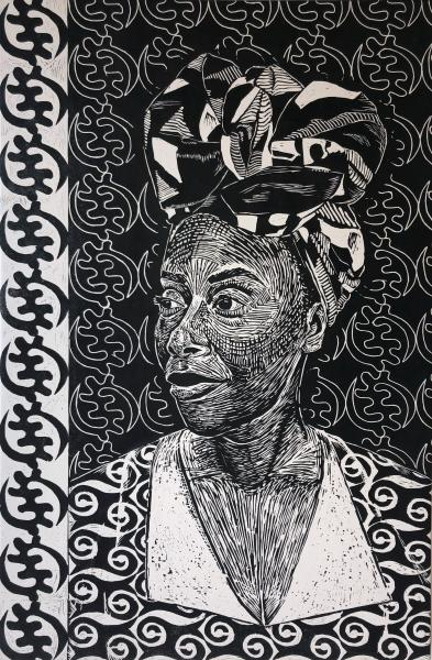 woodcut, printmaking. portraiture, black female artist