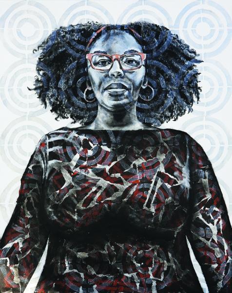 mixed media, fine art, collage, portraits, painting, black female artist