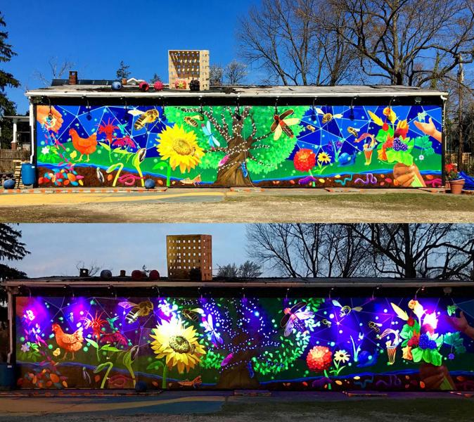 Shot of the mural going from day time to night.