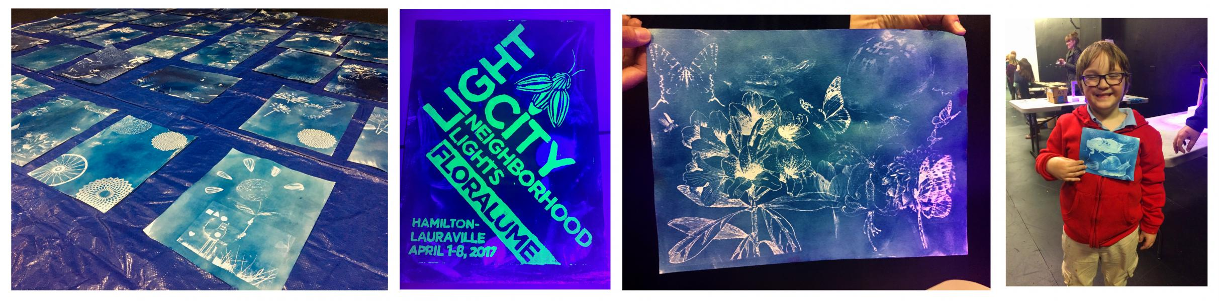 Documentation of the cyanotype posters 100+ families made at The Strand Theater in Hamilton.