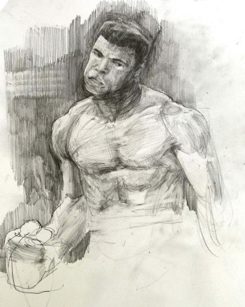 Study Black Lightning (Muhammad Ali), Graphite on paper
