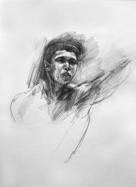 "Study for Black Lightning (Muhammad Ali), Graphite on paper, 12"" x 9"""