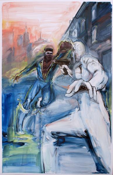 Black Lightning superhero painting Muhammand Ali