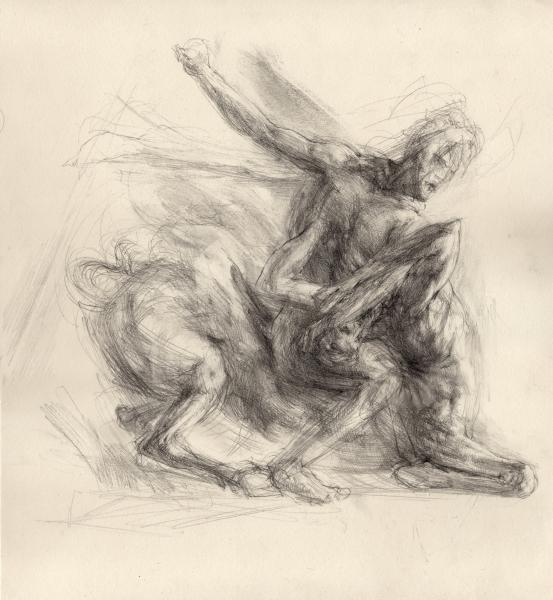 """Hercules and the Centaur (after Giambologna), Graphite on paper, 10"""" x 10"""""""