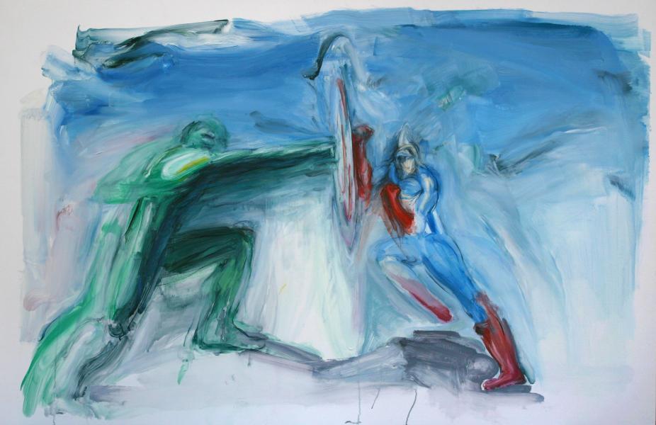 Hulk Captain America Marvel superhero painting