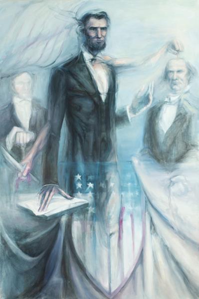 "Perseus Slays Medusa (Lincoln/Douglas debate), Oil & acrylic on canvas, 78"" x 52"""