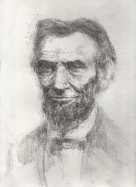 """Lincoln The Ancient One, Graphite on paper, 12"""" x 9"""""""