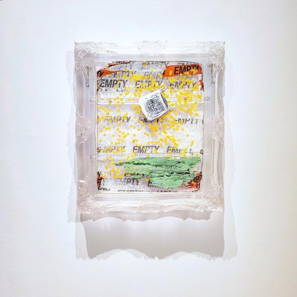"""False Hopes of a pessimistic dreamer"" acrylic on resin with confetti and tape, 2019 24"" x 32"""