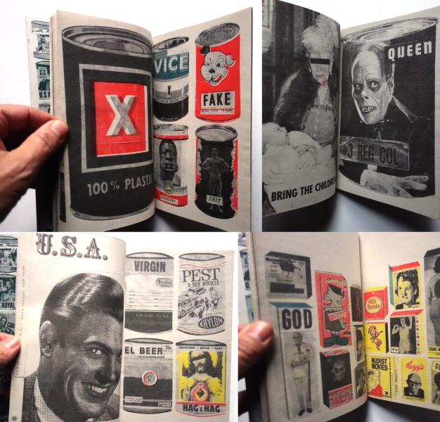 BRAND X, 2014. 26pp. Filled with hand cut collage art inspired by advertising and consumerism. All art in this zine constructed by hand with vintage papers. Risograph printed.