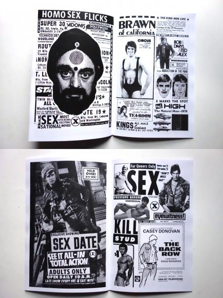 Inspired by the distinctive pre-internet marketing aimed at a gay audience. Packed with vintage advertising from original sources, collage and manipulation. The title All Male Cast refers to the small print seen on 1970s gay adult movie advertisements.