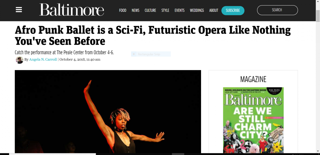 Screenshot of Baltimore Magazine Article About Afro Punk Ballet